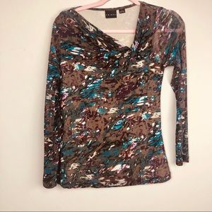 Tribal shirt small sheer arms twisted neckline